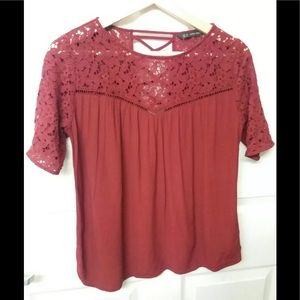 Zara Guipure Lace Sleeves Blouse Bordeaux Red M